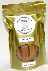 apple pie flavor pet treats, dog bones